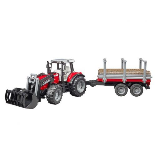 MF 7480 with Frontloader and Timber Trailer 1:16 - 020460