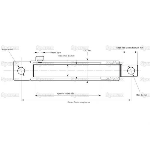 Hydraulic Single Acting Cylinder with Ends S.136889