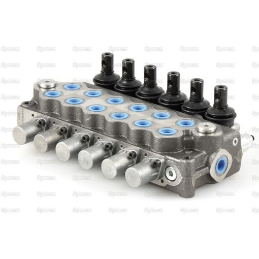 Hydraulic Monoblock Valve 3/8''BSP ports 6 Bank - Double/Double/Double/Double/Double/Double Acting Spring centered with handle S.139473
